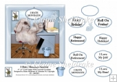 I Hate Mondays Office Rabbit - Comical 6 x 6 Card Topper & Tags