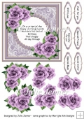 Purple and gold floral frame with verse and decoupage