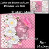 Daisies with Blossom and Lace Decoupage Card Front