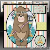 Little Bear Mini Kit. Tribal New Baby Card or Toddler Birthday