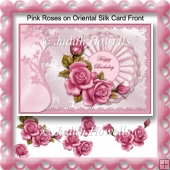 Pink Roses on Oriental Silk Card Front