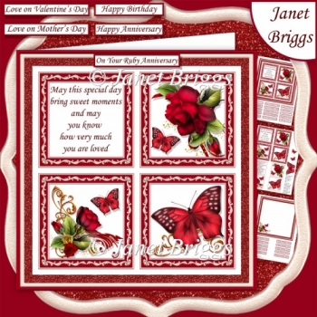 RED ROSES BUTTERFLIES & VERSE SQUARES 7.5 Quick Layer Card