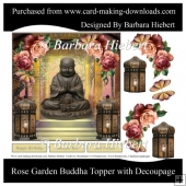 Rose Garden Buddha Topper With Decoupage