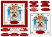 Christmas Puppy Dog (2) 6 x 6 Card Topper & Greetings Tags