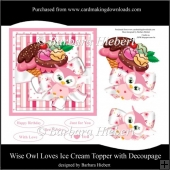 Wise Owl Loves Ice Cream Topper and Decoupage