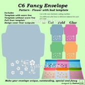 C6 Fancy Envelope - Pattern - Flower with Bud template