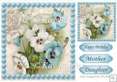 pretty blue and white pansies, blue pearls 8x8