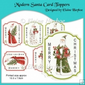 Modern Santa Christmas Card Toppers