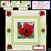 Build A Shabby Chic Decoupage Red Rose Card Topper Kit & Tags