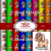 Birthday Puppies Set 3 12x12 Backing Papers CU PU 300 DPI