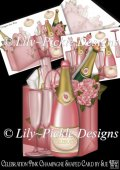 Celebration Pink Champagne Shaped Card