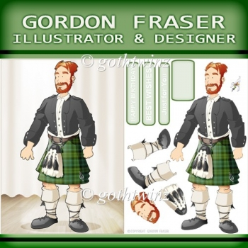 Kilt Dude Redbeard (green) with Insert