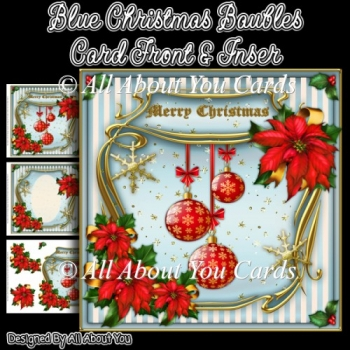 Blue Christmas Baubles Card Front & Insert