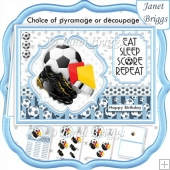 FOOTBALL LIGHT BLUE A5 Decoupage or Pyramage & Insert Card Kit