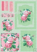 Country Flowers Pink Rose Frames Plus Topper Card Sheet