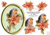 Christmas Robin & Poinsettia - 5 x 7 Oval decoupage Card Topper