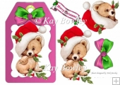 cute bear on a pink tag with santa hat and bow