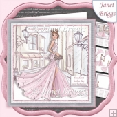 GLAMOROUS LADY PINK DRESS 7.5 Decoupage & Insert Kit