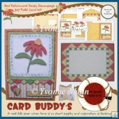 Red Patchwork Daisy Decoupage 5x7 Fold Card Kit