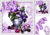 Pretty lilac and purple flowers in vase with bow 8x8