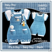 Baby Boy Romper Suite Shaped Card