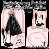 Freestanding Evening Dress Card & Envelope & Pillow Gift Box