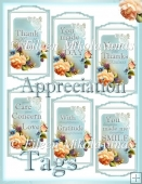 Words of Appreciation Cottage Chic English Garden Floral Tags