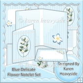 Delicate Blue Flower Notelet Set
