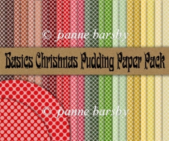 "Basics Christmas Pudding 8"" sq spotty paper pack."