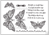 Butterflies x4 with verse and borders