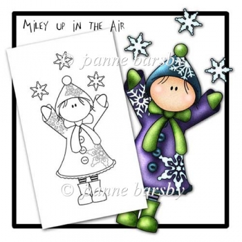 Miley Up in the Air Christmas Themed Digital Stamp