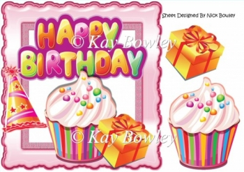 Birthday celebration with cupcake in pink 8x8