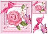 Pink polkadot with rose, butterfly & bow 8x8