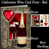 Celebration Wine Card Front - Red