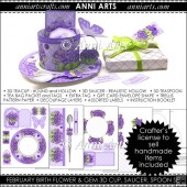 February Birth Flower and Gem 3D Cup and Saucer Set