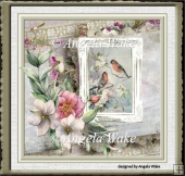 Birds and flowers 7x7 card