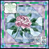 "Pink Rose Stained Glass Window 6"" x 6"" Card Topper + Decoupage"