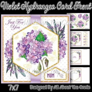 Violet hydrangea Card Front 7x7