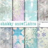 Shabby Snowflakes - pack of 12in x 12in digital papers with CU