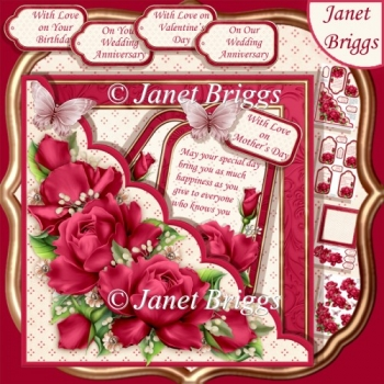 Square Scallop Pocket Deep Pink Roses 7.5 All Occasions Kit