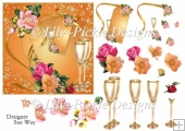 Golden Anniversary Champagne & Flowers Square Card