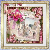roses and views card with decoupage