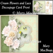 Cream Flowers and Lace Decoupage Card Front