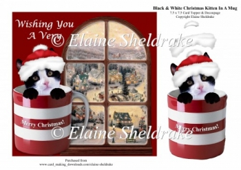 Black & White Christmas Kitten Cat In A Mug + Decoupage
