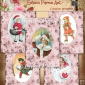 Vintage Christmas Card Fronts in Pink