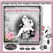 Vintage Leaving, Bon Voyage or Birthday Card Front