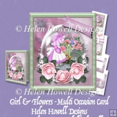 Girl & Flowers - Multi Occasion Card
