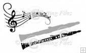 Layered Clarinet and music - card topper