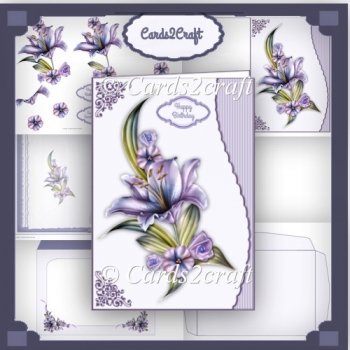 Wavy edge lilac lily card set
