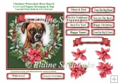 Christmas Poinsettias Watercolour Boxer (2) Puppy Dog